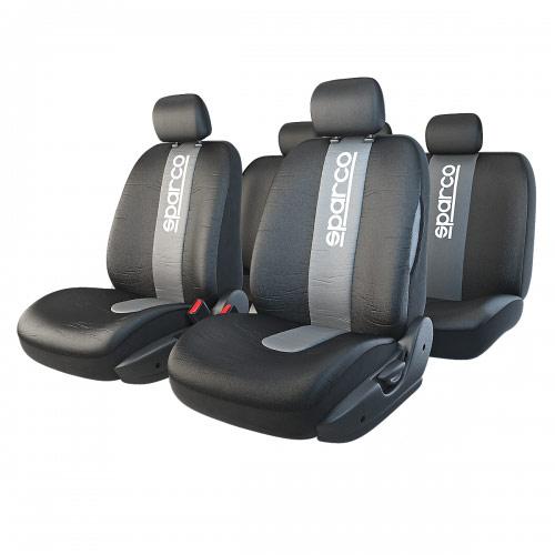 Чехлы автомобильные Sparco Racing, универсальные, цвет: черный, серый, 11 предметов, размер М