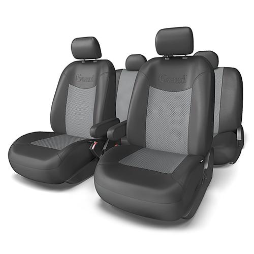 Набор авточехлов Autoprofi Grand, экокожа, цвет: черный, темно-серый, 13 предметов. Размер MGND-1305G BK/D.GY (M)Автомобильные чехлы Grand изготавливаются из высококачественной экокожи с цветными перфорированными вставками. Мягкие и дышащие, чехлы являются отличным дополнением салона любого автомобиля. Изделия выполнены в классическом дизайне и придают автомобильному интерьеру современные и солидные черты. Полиуретановое покрытие искусственной кожи чехлов устойчиво к солнечным лучам, механическому воздействию и растяжению, благодаря чему чехлы отличаются продолжительным сроком эксплуатации. Основные особенности авточехлов Grand: - предустановленные крючки на широких резинках; - крепление передних спинок липучками; - 3 молнии в спинке заднего ряда; - 3 молнии в сиденье заднего ряда; - карманы в спинках передних сидений; - толщина поролона: 5 мм; - использование с боковыми airbag. Комплектация: - 1 сиденье заднего ряда; - 1 спинка заднего ряда; - 2 накидки переднего ряда; - 2 подлокотника; - 2...