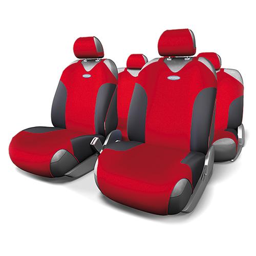 Чехлы-майки Autoprofi Formula, полиэстер, цвет: черный, красный, 9 предметов. FOR-802 BK/RDFOR-802 BK/RDАвтомобильные чехлы-майки Autoprofi Formula, изготовленные из полиэстера, выполнены в спортивном стиле, придающем салону яркие и динамичные черты. Красная строчка подчеркивает изгибы кресел в местах боковой поддержки, визуально делая сиденья более объемными. Наполнитель - поролон. По форме чехлы напоминают майку. Благодаря этому они легко и быстро надеваются на кресла, не требуя демонтажа подголовников или подлокотников. Эластичный материал позволяет использовать чехлы на любых типах сидений. Комплектация: - 1 сиденье заднего ряда, - 1 спинка заднего ряда, - 2 чехла переднего ряда, - 5 подголовников, - набор фиксирующих крючков. Особенности: Использование с любыми типами сидений Толщина поролона - 2 мм