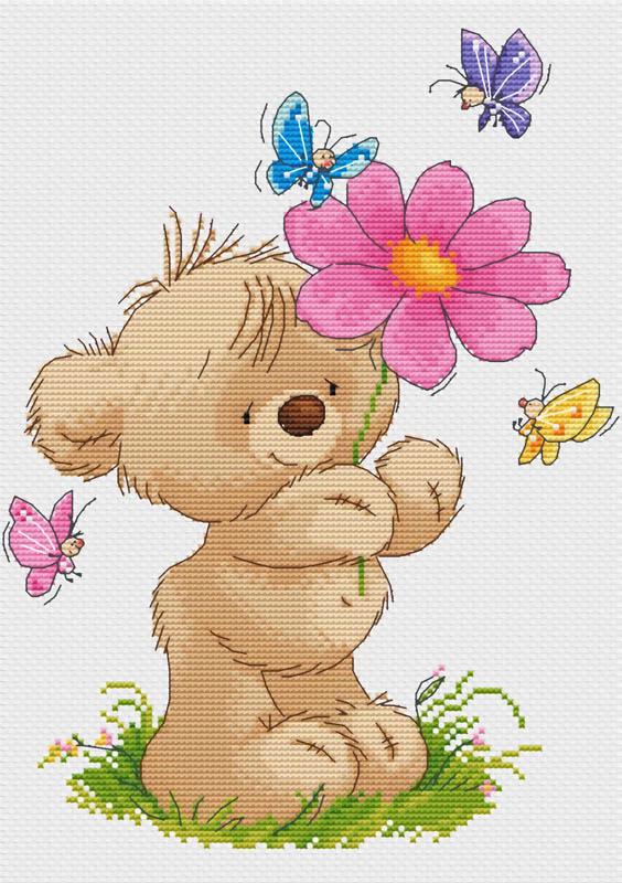Набор для вышивания крестом Мишка с цветком, 26 х 32 см425-14 Мишка с цветкомВ наборе для вышивания крестом Мишка с цветком есть все необходимое для создания собственного чуда: обработанная канва Аида 14 белого цвета, хлопковые мулине, 2 иголки, цветная символьная схема и инструкция по вышиванию. Красивый и стильный рисунок-вышивка, выполненный на канве, выглядит оригинально и всегда модно. Канва в наборах обработана крахмальным средством и полужесткая, что позволяет вышивать как с пяльцами, так и без них. Нитки, применяемые в наборах, изготавливаются из хлопка, гладкие, ровные, имеют стойкую окраску. Работа, сделанная своими руками, создаст особый уют и атмосферу в доме, и долгие годы будет радовать вас и ваших близких. Работа, которая отвлечет вас от повседневных забот, и превратится в увлекательное занятие!