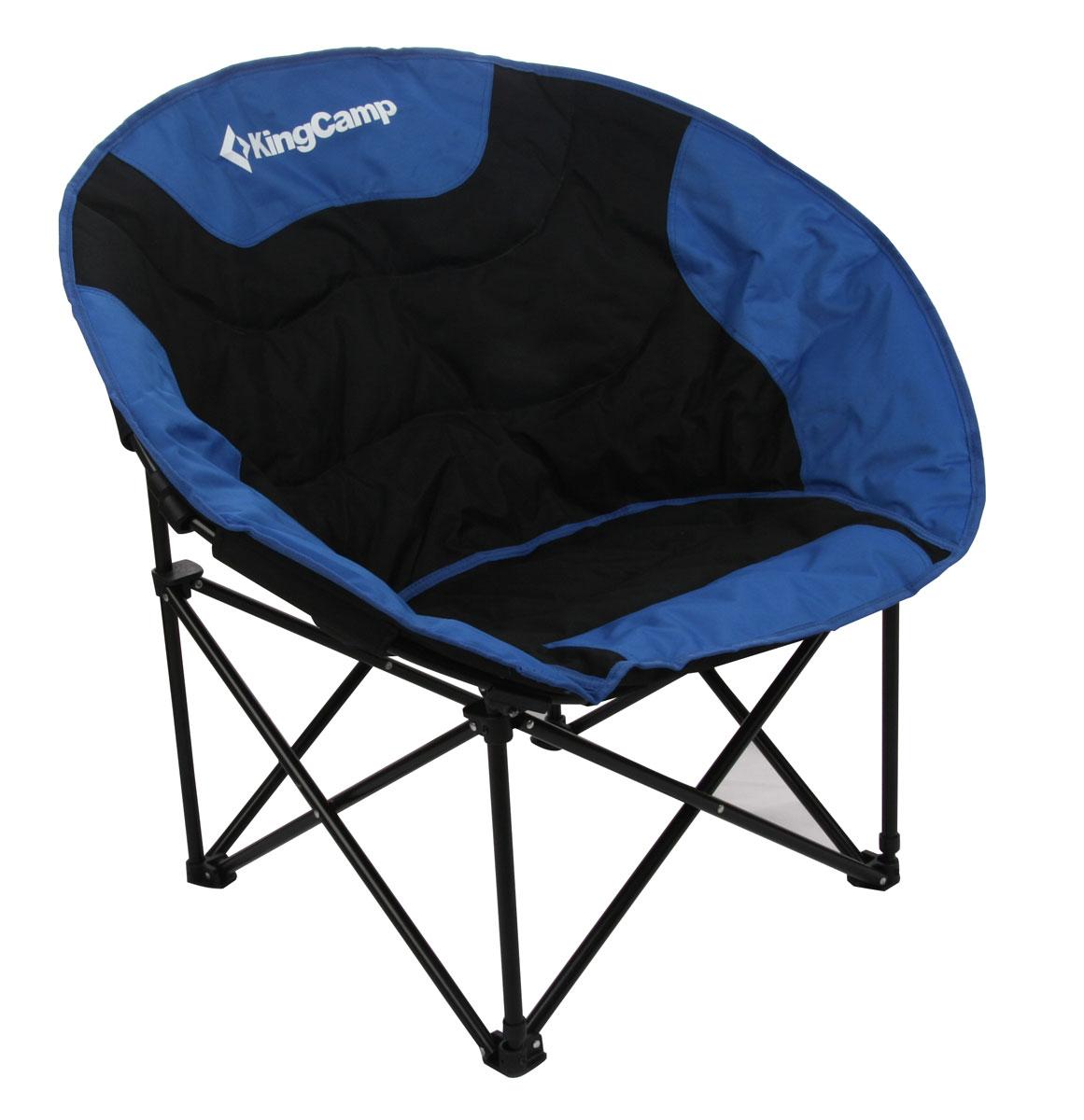 Кресло складное KingCamp Moon Leisure Chair, цвет: синийУТ-000049532Складное круглое кресло KingCamp Moon Leisure Chair с широким сиденьем - незаменимый предмет в походе, на природе, на рыбалке, а также на даче. Кресло имеет прочный металлический каркас и покрытие из текстиля, оно легко собирается и разбирается и не занимает много места, поэтому подходит для транспортировки и хранения дома. Для большего удобства к креслу прилагается чехол для хранения с удобной ручкой.