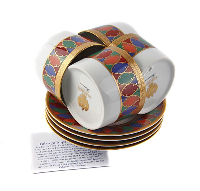 Чайный набор Карсавина. Фарфор, роспись, деколь. House of Faberge, Франция, конец XX века
