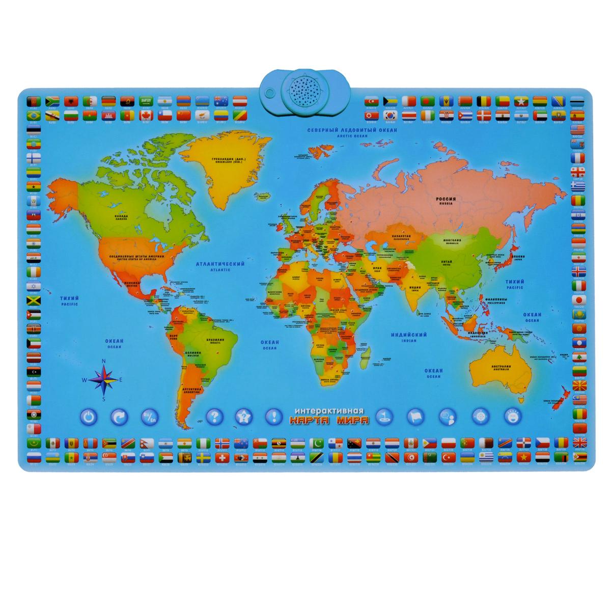 Электронный звуковой плакат ZanZoon Карта мира16305Электронный звуковой плакат ZanZoon Карта мира поможет ребенку в увлекательной и доступной форме получить первые знания о географическом расположении стран. На плакате изображена карта материков с омывающими их морями, обозначены 78 стран, по краям плаката находятся флаги стран. Сверху на плакате расположены пластиковый элемент, снабженный динамиком. Нажимая на изображение страны, ребенок сможет узнать интересные факты о ней: столицу, флаг, основной разговорный язык, континент, на котором она расположена, и забавный факт об этой стране. Вопросы викторин помогут проверить полученные знания. Если ребенок забыл выключить плакат, он самостоятельно отключится спустя некоторое время. Плакат поможет ребенку расширить знания географии, развить память, концентрацию внимания, мелкую моторику рук, а также с пользой организовать собственный досуг. Порадуйте своего ребенка таким замечательным подарком! Для работы плаката необходимы 3 батареи напряжением 1,5V типа...