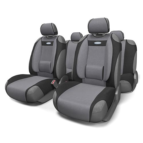 Чехлы-майки Autoprofi Comfort, велюр, цвет: черный, темно-серый, 9 предметов. COM-905T BK/D.GYCOM-905T BK/D.GYЧехлы-майки Autoprofi Comfort разработаны с учетом анатомических особенностей человека. Чехлы оснащены объемной боковой поддержкой спины и поясничным упором, которые способствуют наиболее удобной осанке водителя и переднего пассажира и снижают усталость от многочасовых поездок. По форме чехлы напоминают майку. Благодаря этому они быстро и без усилий надеваются на кресла без демонтажа подголовников или подлокотников. Чехлы изготавливаются из велюра. Эластичный материал позволяет использовать майки на любых типах сидений. Комплектация: - 1 сиденье заднего ряда, - 1 спинка заднего ряда, - 2 чехла переднего ряда, - 5 подголовников, - набор фиксирующих крючков. Особенности: Использование с любыми типами сидений Боковая поддержка спины Толщина поролона - 5 мм