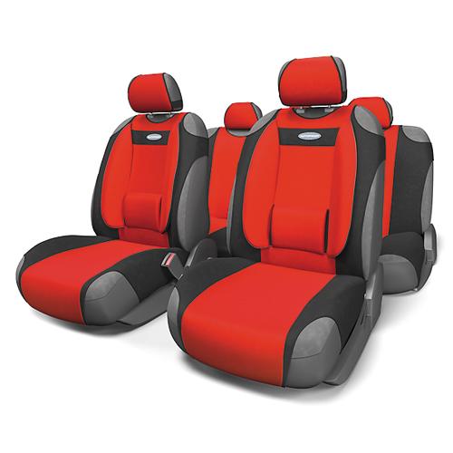 Чехлы-майки Autoprofi Comfort, велюр, цвет: черный, красный, 9 предметов. COM-905T BK/RDCOM-905T BK/RDЧехлы-майки Autoprofi Comfort разработаны с учетом анатомических особенностей человека. Чехлы оснащены объемной боковой поддержкой спины и поясничным упором, которые способствуют наиболее удобной осанке водителя и переднего пассажира и снижают усталость от многочасовых поездок. По форме чехлы напоминают майку. Благодаря этому они быстро и без усилий надеваются на кресла без демонтажа подголовников или подлокотников. Чехлы изготавливаются из велюра. Эластичный материал позволяет использовать майки на любых типах сидений. Комплектация: - 1 сиденье заднего ряда, - 1 спинка заднего ряда, - 2 чехла переднего ряда, - 5 подголовников, - набор фиксирующих крючков. Особенности: Использование с любыми типами сидений Боковая поддержка спины Толщина поролона - 5 мм