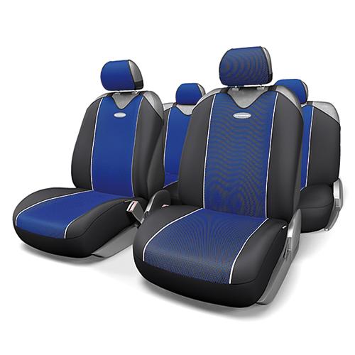 Чехлы-майки Autoprofi Carbon Plus, полиэстер под карбон, цвет: черный, синий, 9 предметов. CRB-902P BK/BLCRB-902P BK/BLМодель авточехлов-маек Autoprofi Carbon Plus, выполненных из полиэстера, отличается полностью закрытой нижней частью сидений, которая добавляет им практичности и износостойкости. При этом чехлы быстро и без усилий надеваются на кресла, не требуя демонтажа подголовников или подлокотников. Эластичный материал позволяет использовать чехлы на сиденьях любого типа. Визуально полиэстер изделий в точности повторяет переливающийся рисунок настоящего карбона и придает чехлам респектабельный вид. Для автомобиля, чей экстерьер или салон оснащены карбоновыми деталями, чехлы Autoprofi Carbon Plus являются наиболее гармоничным дополнением. Комплектация: - 1 сиденье заднего ряда, - 1 спинка заднего ряда, - 2 чехла переднего ряда, - 5 подголовников, - набор фиксирующих крючков. Особенности: Использование с любыми типами сидений Толщина поролона - 2 мм Полиэстер с рисунком карбон