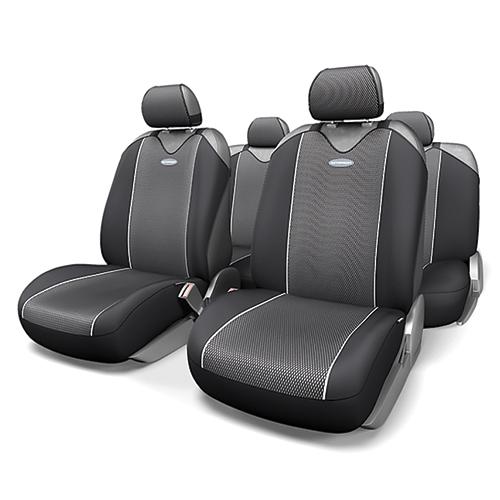 Чехлы-майки Autoprofi Carbon Plus, полиэстер под карбон, цвет: черный, серый, 9 предметов. CRB-902P BK/GYCRB-902P BK/GYМодель авточехлов-маек Autoprofi Carbon Plus, выполненных из полиэстера, отличается полностью закрытой нижней частью сидений, которая добавляет им практичности и износостойкости. При этом чехлы быстро и без усилий надеваются на кресла, не требуя демонтажа подголовников или подлокотников. Эластичный материал позволяет использовать чехлы на сиденьях любого типа. Визуально полиэстер изделий в точности повторяет переливающийся рисунок настоящего карбона и придает чехлам респектабельный вид. Для автомобиля, чей экстерьер или салон оснащены карбоновыми деталями, чехлы Autoprofi Carbon Plus являются наиболее гармоничным дополнением. Комплектация: - 1 сиденье заднего ряда, - 1 спинка заднего ряда, - 2 чехла переднего ряда, - 5 подголовников, - набор фиксирующих крючков. Особенности: Использование с любыми типами сидений Толщина поролона - 2 мм Полиэстер с рисунком карбон