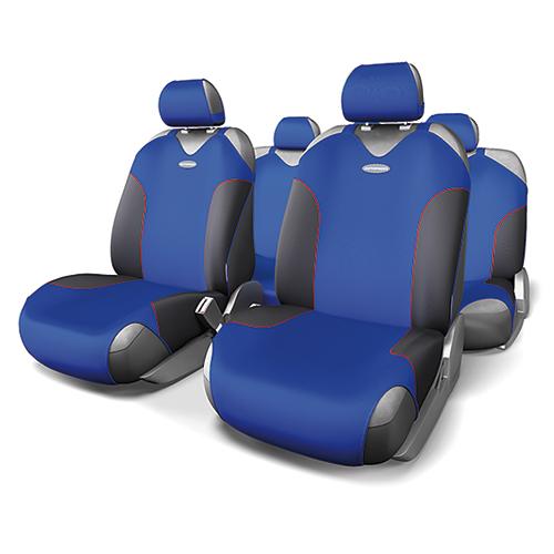 Чехлы-майки Autoprofi Formula, полиэстер, цвет: черный, синий, 9 предметов. FOR-802 BK/BLFOR-802 BK/BLАвтомобильные чехлы-майки Autoprofi Formula, изготовленные из полиэстера, выполнены в спортивном стиле, придающем салону яркие и динамичные черты. Красная строчка подчеркивает изгибы кресел в местах боковой поддержки, визуально делая сиденья более объемными. Наполнитель - поролон. По форме чехлы напоминают майку. Благодаря этому они легко и быстро надеваются на кресла, не требуя демонтажа подголовников или подлокотников. Эластичный материал позволяет использовать чехлы на любых типах сидений. Комплектация: - 1 сиденье заднего ряда, - 1 спинка заднего ряда, - 2 чехла переднего ряда, - 5 подголовников, - набор фиксирующих крючков. Особенности: Использование с любыми типами сидений Толщина поролона - 2 мм