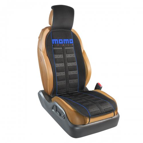 Накидка на переднее сиденье Momo Sport, полиэстер, цвет: черный, синий. MOMO-101 BK/BLMOMO-101 BK/BLНакидка на переднее сиденье Momo Sport изготовлена из высококачественного полиэстера и надежно защищает кресла от грязи и изнашивания. Благодаря универсальному крою накидку можно использовать на передних сиденьях большинства автомобилей, в том числе оснащенных боковыми подушками безопасности. Установка не занимает много времени - накидка крепится с помощью эластичных резинок с пластмассовым креплением и закрывает не только спинку и сиденье, но и подголовник кресла. Имеется возможность использования с любыми типами сидений. Стильная накидка на сиденье Momo Sport обладает не только ярким дизайном, но и эргономичным кроем. Вдоль центральной оси накидки расположены прямоугольные выступы, которые массируют ноги и спину, и снижают таким образом усталость от поездок.
