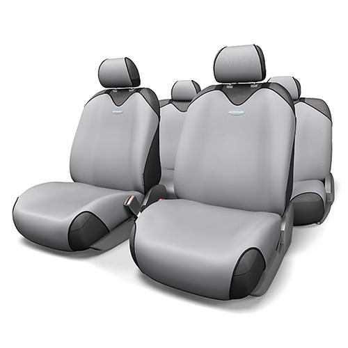Чехлы-майки на сиденья Autoprofi R-1 Sport, полиэстер, цвет: светло-серый, 9 предметов. R-802 L.GYR-802 L.GYЧехлы-майки на сиденья Autoprofi R-1 Sport выполнены из высококачественного полиэстера. Такая форма автомобильных чехлов позволяет без затруднений надевать их на кресла любого типа, не прибегая к демонтажу подголовников и подлокотников. Эластичный полиэстер маек плотно облегает поверхность кресел, не выцветает на солнце и не электризуется. Чехлы-майки на сиденья Autoprofi R-1 Sport выполнены в спортивном стиле, который придает салону яркие и динамичные черты. Широкая гамма расцветок чехлов позволяет подобрать их к любому интерьеру автомобиля. Имеется возможность использования с любыми типами сидений. Комплектация: - 1 сиденье заднего ряда, - 1 спинка заднего ряда, - 2 чехла переднего ряда, - 5 подголовников, - набор фиксирующих крючков. Особенности: Использование с любыми типами сидений Толщина поролона - 2 мм