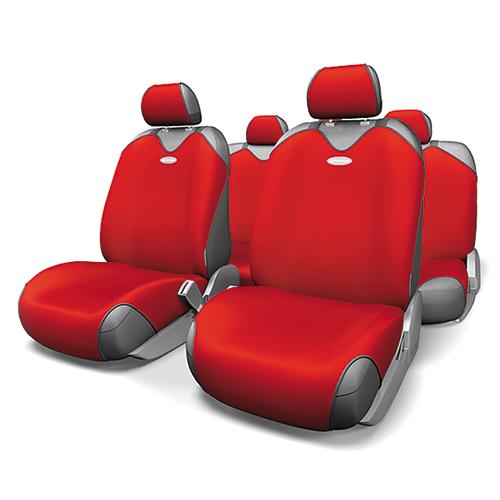 Чехлы-майки на сиденья Autoprofi R-1 Sport, полиэстер, цвет: красный, 9 предметов. R-802 RDR-802 RDЧехлы-майки на сиденья Autoprofi R-1 Sport выполнены из высококачественного полиэстера. Такая форма автомобильных чехлов позволяет без затруднений надевать их на кресла любого типа, не прибегая к демонтажу подголовников и подлокотников. Эластичный полиэстер маек плотно облегает поверхность кресел, не выцветает на солнце и не электризуется. Чехлы-майки на сиденья Autoprofi R-1 Sport выполнены в спортивном стиле, который придает салону яркие и динамичные черты. Широкая гамма расцветок чехлов позволяет подобрать их к любому интерьеру автомобиля. Имеется возможность использования с любыми типами сидений. Комплектация: - 1 сиденье заднего ряда, - 1 спинка заднего ряда, - 2 чехла переднего ряда, - 5 подголовников, - набор фиксирующих крючков. Особенности: Использование с любыми типами сидений Толщина поролона - 2 мм
