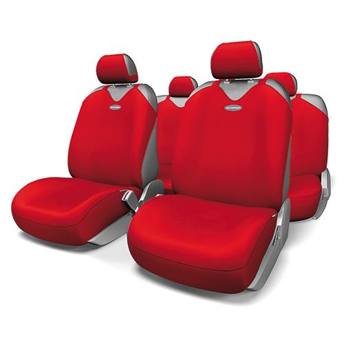 """Чехлы-майки на сиденья Autoprofi """"Sport Plus"""", полиэстер, цвет: красный, 9 предметов. R-902P RD"""