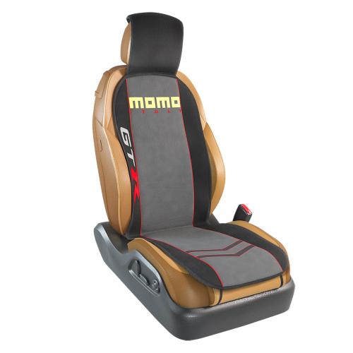 Накидка на переднее сиденье Momo Gtr, полиэстер, цвет: черный, серый. MOMO-103 BK/GYMOMO-103 BK/GYНакидка на переднее сиденье Momo Gtr изготовлена из высококачественного полиэстера и надежно защищает кресла от грязи и изнашивания. Благодаря универсальному крою накидку можно использовать на передних сиденьях большинства автомобилей, в том числе оснащенных боковыми подушками безопасности. Установка не занимает много времени - накидка крепится с помощью эластичных резинок с пластмассовым креплением и закрывает не только спинку и сиденье, но и подголовник кресла. Имеется возможность использования с любыми типами сидений. Накидка на сиденье изготовлена в ярко выраженном спортивном стиле, который позволяет придать салону подчеркнуто динамичные и эксклюзивные черты.