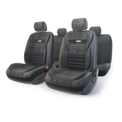 Набор ортопедических авточехлов Autoprofi Multi Comfort, экокожа, цвет: черный, 11 предметов. Размер MMLT-1105GV BK/BK (M)Анатомические чехлы Multi Comfort отличаются объемными вставками, расположенными не только на уровне плеч и поясницы, но и в области бедер. Благодаря своей особой форме, вставки эффективно поддерживают тело водителя и пассажира в движении, снижая усталость от дороги. В чехлы переднего ряда также вшит рельефный поясничный упор. Его выпуклая форма способствует уменьшению нагрузки на межпозвоночные диски и делает более комфортными дальние поездки. Кроме этого, чехлы на подголовники оснащены мягким выступом, который поддерживает голову и снижает давление на затылочную часть. Чехлы изготавливаются из экокожи и текстурированного велюра различных цветов, которые обладают привлекательным внешним видом и не требуют больших усилий при уходе. Основные особенности авточехлов Multi Comfort: - поддержка плечевого пояса; - боковая поддержка спины; - боковая поддержка ног; - ортопедический поясничный упор; - мягкая вставка на подголовнике; ...