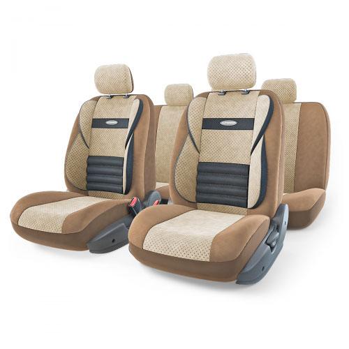 Набор ортопедических авточехлов Autoprofi Comfort Combo, велюр, цвет: темно-бежевый, светло-бежевый, 11 предметов. Размер M. CMB-1105 D.BE/L.BE (M)CMB-1105 D.BE/L.BE (M)Ортопедические авточехлы Comfort Combo оснащены усиленной поддержкой плечевого пояса, которая способствует естественному положению спины при вождении. Объемные боковые вставки чехлов на уровне поясницы поддерживают туловище в поворотах, а рифленый поясничный профиль обеспечивает естественную осанку и снижает нагрузку с межпозвоночных дисков. Чехлы Comfort Combo выполнены из формованного велюра, который сочетает привлекательный внешний вид и хорошие дышащие свойства, позволяющие водителю и пассажирам чувствовать себя комфортно во время движения. Основные особенности авточехлов Comfort Combo: - боковая поддержка спины; - 3 молнии в спинке заднего ряда; - 3 молнии в сиденье заднего ряда; - карманы в спинках передних сидений; - крепление передних спинок липучками; - ортопедический поясничный упор; - поддержка плечевого пояса; - предустановленные крючки на широких резинках; - использование с боковыми airbag; ...