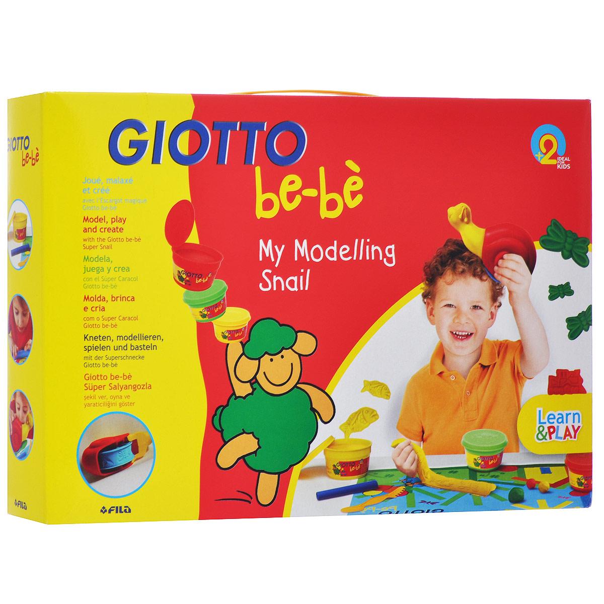 Набор для моделирования Giotto Bebe. My Modeling Snail465200Набор для лепки Giotto Be-be. My Modeling Snail предназначен для лепки и моделирования. Паста для лепки обладает отличными пластичными свойствами, быстро размягчается, хорошо держит форму и не липнет к рукам. Легко отмывается с рук и отстирывается от одежды. В наборе масса для лепки трех цветов, улитка-ролик для создания поделок, скалка и нож. Занятия лепкой помогут ребенку развить творческие способности, воображение, мелкую моторику рук и сенсорное восприятие.