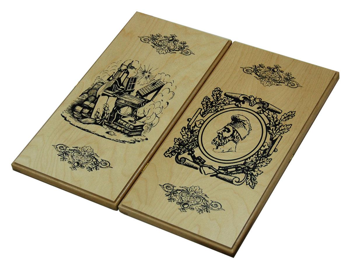 Нарды Персидский мудрец, цвет: бежевый, черный, размер: 50х25х4,5 см. 10201020Нарды Персидский мудрец представляют собой деревянный кейс, который закрывается на металлический замок. Внутренняя часть кейса - игровое поле для игры в нарды. В наборе имеются два игральных кубика и 30 деревянных фишек. Крышка оформлена орнаментом и изображением мудреца. Цель игры в нарды состоит в том, чтобы сначала привести шашки в свой дом (мешая в тоже время сделать это сопернику), а затем, когда это удалось сделать, снять их с доски быстрее соперника. Побеждает тот, кто первым снял свои шашки. Нарды - древняя восточная игра. Родина этой игры неизвестна, однако, известно, что люди играют в эту игру уже более 7000 лет. На игровой доске для нард все кратно шести и имеет связь со временем. 24 пункта представляют 24 часа, 30 шашек представляют 30 дней в месяце, 12 пунктов на каждой стороне доски символизируют 12 месяцев. Нарды Персидский мудрец - это отличный подарок, который понравится каждому.