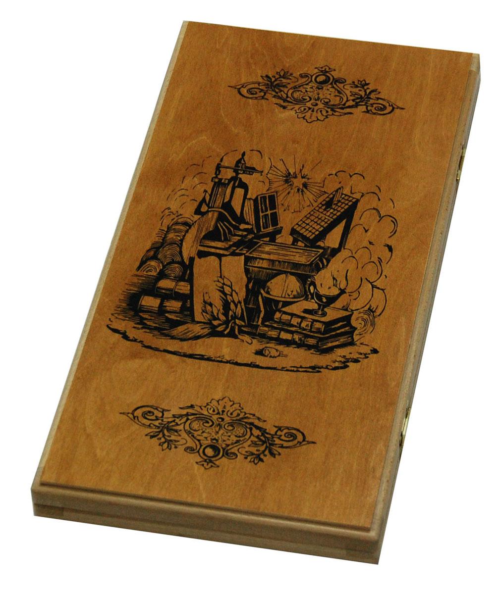 Нарды Персидский мудрец, цвет: коричневый, черный, размер: 50х25х4,5 см. 1020/11020/1Нарды Персидский мудрец представляют собой деревянный кейс, который закрывается на металлический замок. Внутренняя часть кейса - игровое поле для игры в нарды. В наборе имеются два игральных кубика и 30 деревянных фишек. Крышка оформлена орнаментом и изображением мудреца. Цель игры в нарды состоит в том, чтобы сначала привести шашки в свой дом (мешая в тоже время сделать это сопернику), а затем, когда это удалось сделать, снять их с доски быстрее соперника. Побеждает тот, кто первым снял свои шашки. Нарды - древняя восточная игра. Родина этой игры неизвестна, однако, известно, что люди играют в эту игру уже более 7000 лет. На игровой доске для нард все кратно шести и имеет связь со временем. 24 пункта представляют 24 часа, 30 шашек представляют 30 дней в месяце, 12 пунктов на каждой стороне доски символизируют 12 месяцев. Нарды Персидский мудрец - это отличный подарок, который понравится каждому.