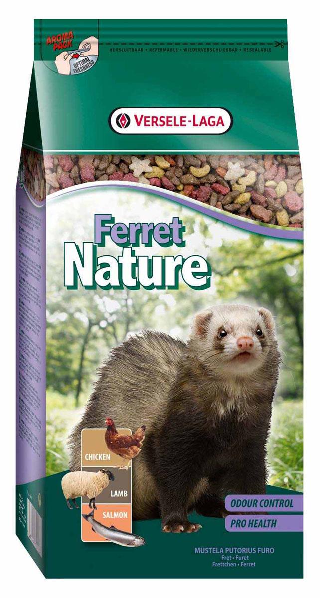 Корм для хорьков Versele-Laga Ferret Nature, 750 г461373Versele-Laga Ferret Nature это полноценный основной корм для хорьков, разработанный в соответствии с их пищевыми потребностями. Это высококачественная смесь природных компонентов, которая содержит все необходимые для организма питательные вещества, витамины, минералы и аминокислоты, необходимые для жизнерадостной и здоровой жизни вашего питомца. Versele-Laga Ferret Nature содержит животные белки и жиры курицы, ягненка и лосося, а также добавки, важные для здоровья: обеспечивает превосходное пищеварение, гигиену полости рта, сияющую шерсть и великолепное здоровье. Широкое разнообразие ингредиентов гарантирует превосходный вкус и усвояемость. Указания к использованию В зависимости от размера и возраста хорька рекомендуемая дневная порция в среднем составляет от 50 до 80 грамм. Обеспечивайте вашему питомцу свежий корм и питьевую воду ежедневно. Состав: мясо и продукты животного происхождения, злаки, производные растительного ...