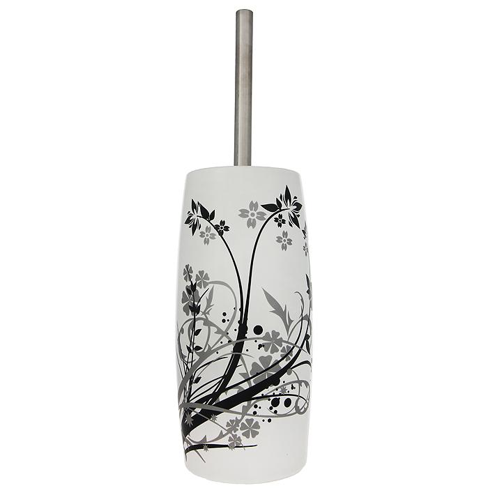 Ерш для унитаза Duschy Aster, с подставкой354-06Ерш для унитаза с подставкой Duschy Aster выполнен из керамики белого цвета, украшенной растительным рисунком черного и серого цветов. Прочная металлическая ручка и жесткий ворс обеспечивают эффективное использование. Подставка под ерш отличается легкостью и компактностью. Такой набор станет достойным дополнением туалетной комнаты. Характеристики: Материал: керамика, металл. Цвет: белый. Размер подставки: 24 см х 10 см х 10 см. Длина ершика: 34 см. Размер упаковки: 26 см х 13 см х 13 см. Артикул: 354-06.