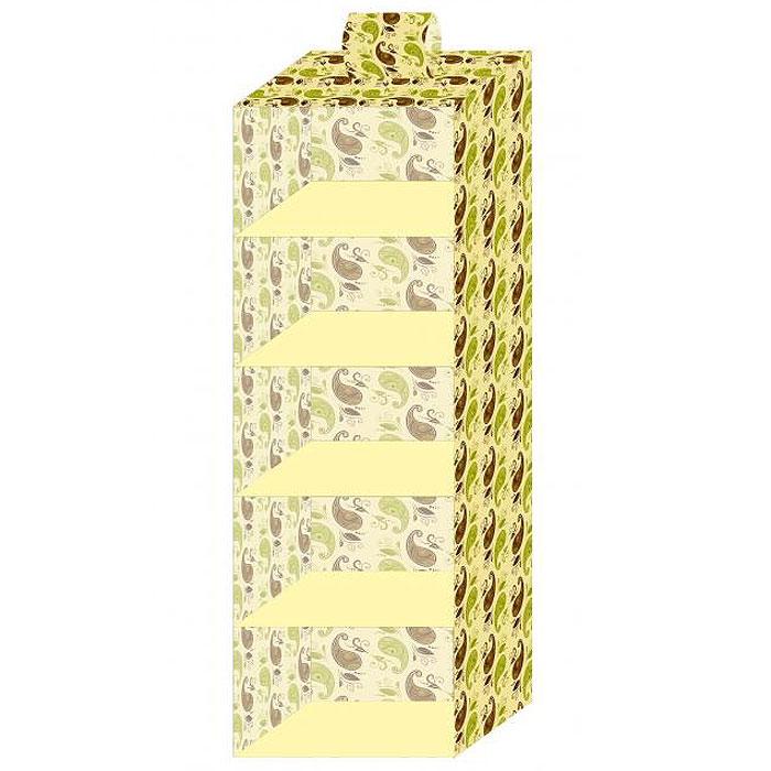 Кофр подвесной стандартный Фэйт, 5 ячеек, 30 х 30 х 100 см69329Подвесной кофр Фэйт выполнен из картона, обтянутого вискозной тканью с фирменным орнаментом. Материал позволяет пропускать внутрь воздух, но не пропускает пыль, грязь и насекомых. 5 вместительных ячеек позволяют компактно хранить одежду, домашнюю обувь, шарфики, перчатки, зонты, шапки. В сложенном виде кофр не занимает много места.