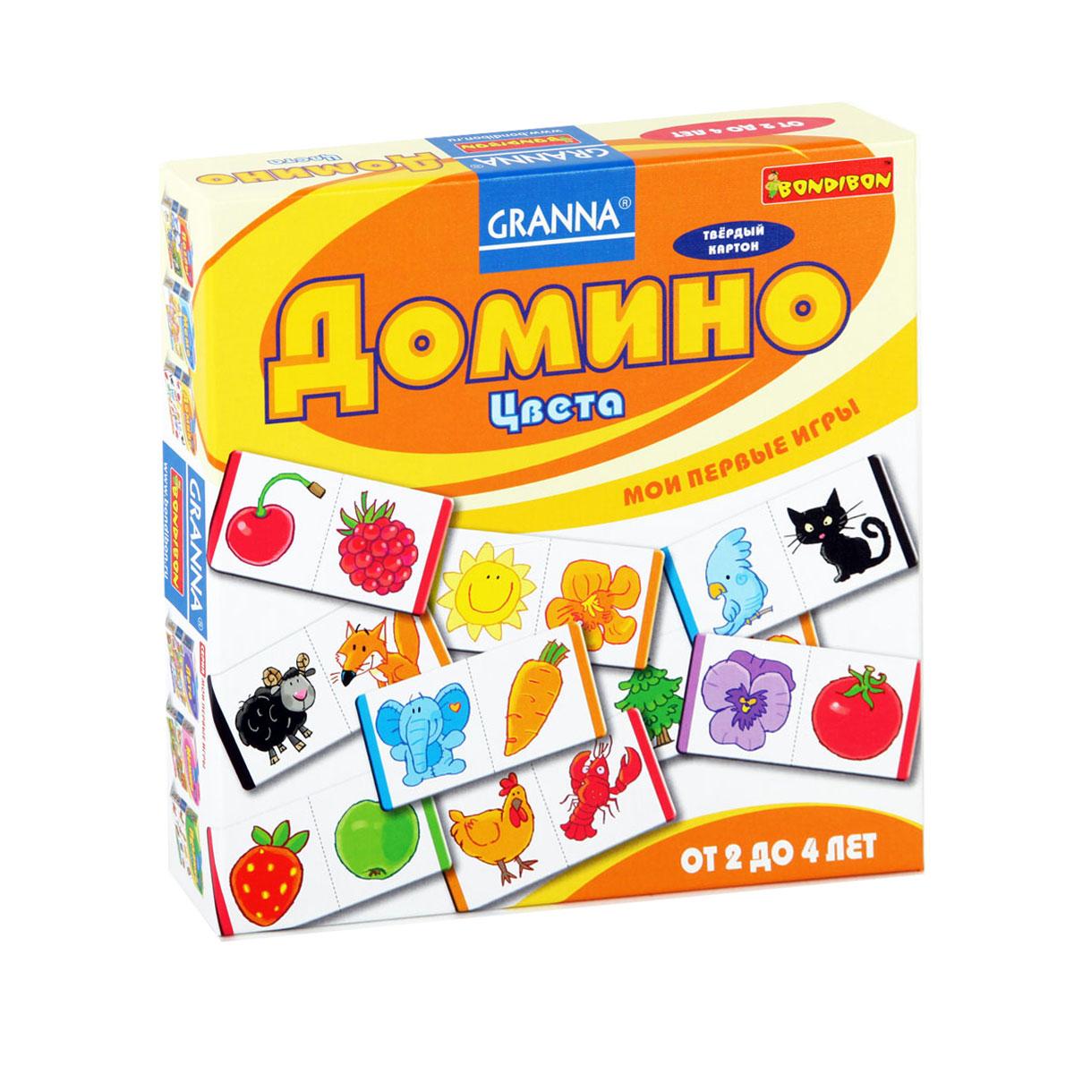 Домино Bondibon ЦветаВВ1000Домино Bondibon Цвета - это классическая дидактическая игра для малышей на узнавание предметов и цветов. Предлагаем несколько вариантов игры с домино: Разноцветная змейка. Попробуй выложить разноцветную змейку. Выбери любую карточку-домино. Положи рядом с ней еще одну карточку с рисунком такого же цвета. А к ним еще одну и так продолжай. Постарайся использовать как можно больше карточек для постройки, и получатся длинные волшебные желтые, красные или фиолетовые змейки. В эту игру ребенок может играть самостоятельно. Классический способ игры в домино для нескольких участников, но здесь имеет значение не рисунок на карточке, а его цвет. Выигрывает тот игрок, который первым выложит все свои карточки. В комплект игры входят 27 карточек домино и правила игры на русском языке. Игра развивает внимание, зрительное восприятие, комбинаторные и логические способности, учит находить одинаковые картинки и соединять их в цепочки. Характеристики: ...