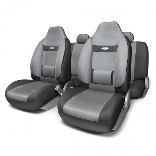 Набор ортопедических авточехлов Autoprofi Comfort, для кресел с литыми подголовниками, велюр, цвет: черный, темно-серый, 11 предметов. Размер MCOM-1105H BK/D.GY (M)Анатомическое авточехлы Comfort спроектированы специально для автомобильных кресел с литыми подголовниками. Встроенный поясничный упор и боковая поддержка спины чехлов придают передним креслам автомобиля эргономичную форму, за счет чего посадка водителя и пассажира становится более естественной и удобной. В качестве внешнего материала в чехлах Comfort используется жаропрочный велюр, который не электризуется и не выцветает на солнце. Основные особенности авточехлов Comfort: - боковая поддержка спины; - 3 молнии в спинке заднего ряда; - боковая поддержка спины; - карманы в спинках передних сидений; - крепление передних спинок липучками; - литые подголовники; - поясничный упор; - предустановленные крючки на широких резинках; - использование с боковыми airbag; - толщина поролона: 5 мм. Комплектация: - 1 сиденье заднего ряда; - 1 спинка заднего ряда; - 2 сиденья переднего...