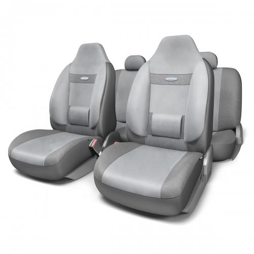 Набор ортопедических авточехлов Autoprofi Comfort, для кресел с литыми подголовниками, велюр, цвет: темно-серый, светло-серый, 11 предметов. Размер MCOM-1105H D.GY/L.GY (M)Анатомическое авточехлы Comfort спроектированы специально для автомобильных кресел с литыми подголовниками. Встроенный поясничный упор и боковая поддержка спины чехлов придают передним креслам автомобиля эргономичную форму, за счет чего посадка водителя и пассажира становится более естественной и удобной. В качестве внешнего материала в чехлах Comfort используется жаропрочный велюр, который не электризуется и не выцветает на солнце. Основные особенности авточехлов Comfort: - боковая поддержка спины; - 3 молнии в спинке заднего ряда; - боковая поддержка спины; - карманы в спинках передних сидений; - крепление передних спинок липучками; - литые подголовники; - поясничный упор; - предустановленные крючки на широких резинках; - использование с боковыми airbag; - толщина поролона: 5 мм. Комплектация: - 1 сиденье заднего ряда; - 1 спинка заднего ряда; - 2 сиденья переднего...