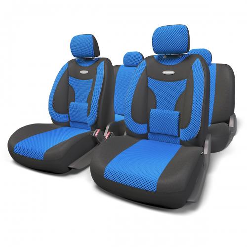 """Набор ортопедических авточехлов Autoprofi """"Extra Comfort"""", формованный велюр, цвет: черный, синий, 11 предметов. Размер M ECO-1105"""