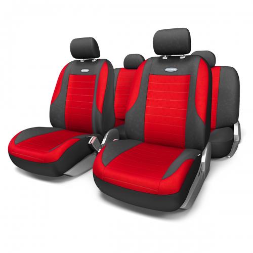 Набор авточехлов Autoprofi Evolution, велюр, цвет: черный, красный, 11 предметов. Размер MEVO-1105 BK/RD (M)Классическая модель авточехлов Evolution выполнена в спортивном стиле, придающем салону автомобиля яркие и динамичные черты. Велюр, из которого изготавливаются чехлы, очень приятен на ощупь и обладает высокой износостойкостью. Материал не выцветает на солнце, не электризуется и имеет высокие грязеотталкивающие свойства. Велюр триплирован 5-миллиметровым слоем поролона, который помогает чехлам сохранять свою форму на протяжении всего срока службы. Благодаря триплированию чехлы плотно облегают сиденья, не скользят по их поверхности и не мнутся. Основные особенности авточехлов Evolution: - 3 молнии в спинке заднего ряда; - карманы в спинках передних сидений; - толщина поролона: 5 мм. Комплектация: - 1 сиденье заднего ряда; - 1 спинка заднего ряда; - 2 сиденья переднего ряда; - 2 спинки переднего ряда; - 5 подголовников; - набор фиксирующих крючков.