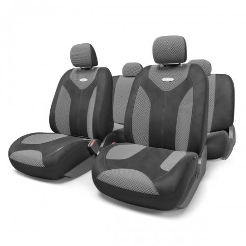 Набор авточехлов Autoprofi Matrix, велюр, цвет: черный, темно-серый, 11 предметов. Размер SMTX-1105 BK/D.GY (S)Яркий и привлекательный дизайн - отличительная черта автомобильных чехлов Matrix. Классические чехлы Matrix изготовлены из формованного велюра, триплированного поролоном. Благодаря этому они обладают хорошими дышащими свойствами и позволяют водителю и пассажирам чувствовать себя комфортно даже во время долгой дороги. Формованный велюр не выцветает на солнце, не электризуется и обладает высокими грязеотталкивающими свойствами. Он придает чехлам запоминающийся вид, преображающий облик салона автомобиля. Основные особенности авточехлов Matrix: - предустановленные крючки на широких резинках; - 3 молнии в спинке заднего ряда; - 3 молнии в сиденье заднего ряда; - карманы в спинках передних сидений; - толщина поролона: 5 мм. Комплектация: - 1 сиденье заднего ряда; - 1 спинка заднего ряда; - 2 сиденья переднего ряда; - 2 спинки переднего ряда; - 5 подголовников; - набор фиксирующих...