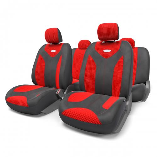 Набор авточехлов Autoprofi Matrix, велюр, цвет: черный, красный, 11 предметов. Размер SMTX-1105 BK/RD (S)Яркий и привлекательный дизайн - отличительная черта автомобильных чехлов Matrix. Классические чехлы Matrix изготовлены из формованного велюра, триплированного поролоном. Благодаря этому они обладают хорошими дышащими свойствами и позволяют водителю и пассажирам чувствовать себя комфортно даже во время долгой дороги. Формованный велюр не выцветает на солнце, не электризуется и обладает высокими грязеотталкивающими свойствами. Он придает чехлам запоминающийся вид, преображающий облик салона автомобиля. Основные особенности авточехлов Matrix: - предустановленные крючки на широких резинках; - 3 молнии в спинке заднего ряда; - 3 молнии в сиденье заднего ряда; - карманы в спинках передних сидений; - толщина поролона: 5 мм. Комплектация: - 1 сиденье заднего ряда; - 1 спинка заднего ряда; - 2 сиденья переднего ряда; - 2 спинки переднего ряда; - 5 подголовников; - набор фиксирующих...