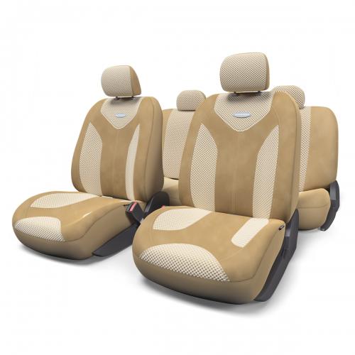 Набор авточехлов Autoprofi Matrix, велюр, цвет: темно-бежевый, светло-бежевый, 11 предметов. Размер SMTX-1105 D.BE/L.BE (S)Яркий и привлекательный дизайн - отличительная черта автомобильных чехлов Matrix. Классические чехлы Matrix изготовлены из формованного велюра, триплированного поролоном. Благодаря этому они обладают хорошими дышащими свойствами и позволяют водителю и пассажирам чувствовать себя комфортно даже во время долгой дороги. Формованный велюр не выцветает на солнце, не электризуется и обладает высокими грязеотталкивающими свойствами. Он придает чехлам запоминающийся вид, преображающий облик салона автомобиля. Основные особенности авточехлов Matrix: - предустановленные крючки на широких резинках; - 3 молнии в спинке заднего ряда; - 3 молнии в сиденье заднего ряда; - карманы в спинках передних сидений; - толщина поролона: 5 мм. Комплектация: - 1 сиденье заднего ряда; - 1 спинка заднего ряда; - 2 сиденья переднего ряда; - 2 спинки переднего ряда; - 5 подголовников; - набор фиксирующих...