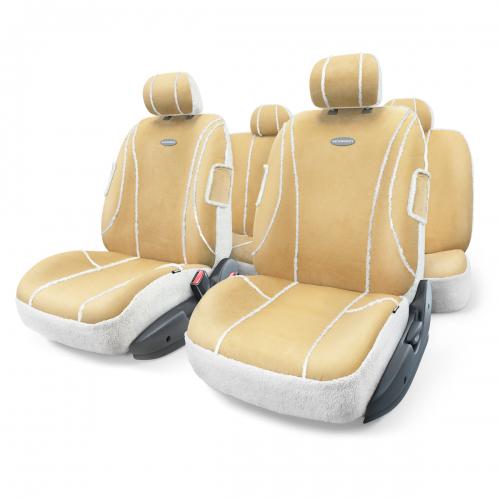 Набор авточехлов Autoprofi Sheep Skin, цвет: бежевый, белый, 9 предметов. Размер MSHP-905 BE/WH (M)Автомобильные чехлы Sheep Skin изготовлены из высококачественных материалов, которые имитируют - как внешне, так и функционально - дубленую овчину. Искусственная овчина органично смотрится в салоне любого автомобиля и очень приятна на ощупь. Зимой она великолепно сохраняет тепло, а летом несет прохладу водителю и пассажирам. Чехлы Sheep Skin сделаны по традиционной - цельной - схеме без разделения на части для спинки и сиденья. Они легко надеваются, снимаются и не боятся стирки. Основные особенности авточехлов Sheep Skin: - 3 молнии в спинке заднего ряда; - толщина поролона: 5 мм; - материал: имитация дубленой овчины. Комплектация: - 1 сиденье заднего ряда; - 1 спинка заднего ряда; - 2 чехла переднего ряда; - 5 подголовников; - набор фиксирующих крючков.