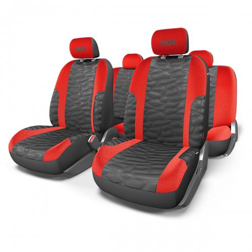 Набор авточехлов Autoprofi Trial, цвет: черный, красный, 11 предметов. Размер MTRL-1105 BK/RD (M)В качестве материала чехлов используется износостойкая алькантара и сетчатая ткань, визуально имитирующая кожу. Объемная псевдо-кожа отличается высокими дышащими свойствами и необычным внешним видом, который придает интерьеру салона спортивный и оригинальный облик. Автомобильные чехлы Trial разработаны специально для сидений, оборудованных боковыми подушками безопасности в спинках передних кресел. Чехлы сидений переднего ряда сбоку оснащены швом, который распускается при срабатывании airbag. Особенности: - Толщина поролона: 5 мм. - Карманы в спинках передних сидений. - 3 молнии в сиденье заднего ряда. - 3 молнии в спинке заднего ряда. - Предустановленные крючки на широких резинках. - Крепление передних спинок липучками. - Использование с боковыми airbag. - Материал: алькантара, объемная кожа (имитация под кожу). Комплектация: - 1 сиденье заднего ряда; - 1 спинка заднего ряда; - 2 спинки...
