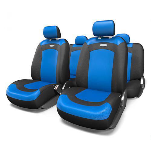 Набор авточехлов Autoprofi Extreme, велюр, цвет: черный, синий, 8 предметов. Размер MXTR-803 BK/BL (M)Модель Extreme сделана по традиционной цельной схеме, без разделения на чехлы для спинки и сиденья. Благодаря этому она является наиболее доступной из серии классических автомобильных чехлов, не уступая в функциональности другим моделям. Чехлы Extreme обладают приятным двухцветным дизайном, который гармонично смотрится с любым автомобильным интерьером. В качестве материалов используются велюр и объемная сетчатая ткань. Ткань способствует улучшенной вентиляции кресел и позволяет сделать комфортными даже дальние поездки. Основные особенности авточехлов Extreme: - 3 молнии в спинке заднего ряда; - использование с боковыми airbag: нет; - толщина поролона: 3 мм. Комплектация: - 1 сиденье заднего ряда; - 1 спинка заднего ряда; - 2 чехла переднего ряда; - 4 подголовника; - набор фиксирующих крючков.