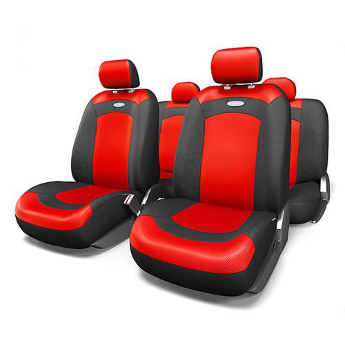 Набор авточехлов Autoprofi Extreme, велюр, цвет: черный, красный, 8 предметов. Размер MXTR-803 BK/RD (M)Модель Extreme сделана по традиционной цельной схеме, без разделения на чехлы для спинки и сиденья. Благодаря этому она является наиболее доступной из серии классических автомобильных чехлов, не уступая в функциональности другим моделям. Чехлы Extreme обладают приятным двухцветным дизайном, который гармонично смотрится с любым автомобильным интерьером. В качестве материалов используются велюр и объемная сетчатая ткань. Ткань способствует улучшенной вентиляции кресел и позволяет сделать комфортными даже дальние поездки. Основные особенности авточехлов Extreme: - 3 молнии в спинке заднего ряда; - использование с боковыми airbag: нет; - толщина поролона: 3 мм. Комплектация: - 1 сиденье заднего ряда; - 1 спинка заднего ряда; - 2 чехла переднего ряда; - 4 подголовника; - набор фиксирующих крючков.