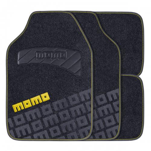 """Коврики автомобильные MOMO """"Tuning"""", ковролин, цвет: черный, желтый, 4 предмета"""