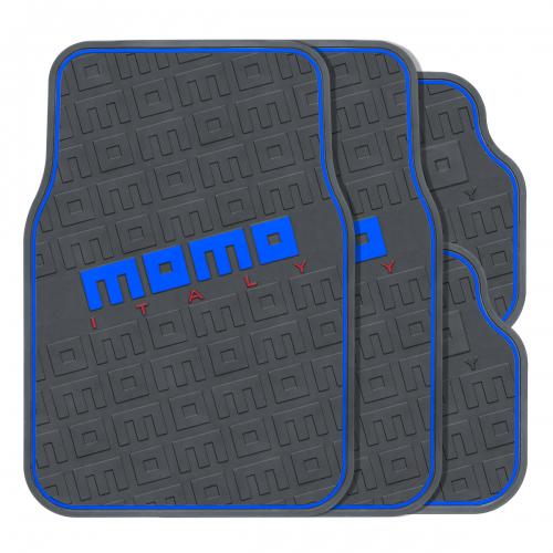 Коврики автомобильные MOMO Commando, эластичный ПВХ, цвет: черный, синий, 4 предметаMOMO-502 BK/BLПрактичные коврики MOMO Commando изготовлены из эластичного ПВХ, который характеризуется небольшим весом, высокой износостойкостью и устойчивостью к воздействию агрессивных веществ, таких как масло, топливо или дорожные реагенты. Рельефные выступы на внешней стороне изделий, сделанные в виде логотипов MOMO, не позволяют ногам скользить по поверхности ковриков. Коврики обладают универсальной формой, позволяющей использовать их на большинстве современных моделей. Красочные надписи и стильная линия по контуру ковриков, выполненные в нескольких цветах, помогают подобрать комплект к различному оформлению салона и придать интерьеру энергичные и запоминающиеся черты. Характеристики: Материал: ПВХ. Цвет: черный, синий. Комплектация: 4 шт. Размер переднего коврика: 66 см х 44 см. Размер заднего коврика: 33 см х 44 см. Артикул: MOMO-502 BK/BL.