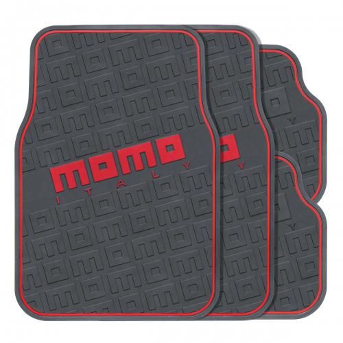 """Коврики автомобильные MOMO """"Commando"""", эластичный ПВХ, цвет: черный, красный, 4 предмета"""