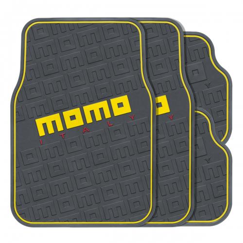 Коврики автомобильные MOMO Commando, эластичный ПВХ, цвет: черный, желтый, 4 предметаMOMO-502 BK/YEПрактичные коврики MOMO Commando изготовлены из эластичного ПВХ, который характеризуется небольшим весом, высокой износостойкостью и устойчивостью к воздействию агрессивных веществ, таких как масло, топливо или дорожные реагенты. Рельефные выступы на внешней стороне изделий, сделанные в виде логотипов MOMO, не позволяют ногам скользить по поверхности ковриков. Коврики обладают универсальной формой, позволяющей использовать их на большинстве современных моделей. Красочные надписи и стильная линия по контуру ковриков, выполненные в нескольких цветах, помогают подобрать комплект к различному оформлению салона и придать интерьеру энергичные и запоминающиеся черты.