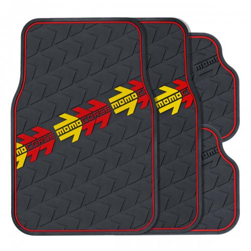 Коврики автомобильные MOMO MOMO Corse, ПВХ, цвет: черный, 4 штMOMO-504 BKКомплект ковриков для салона MOMO MOMO Corse выполнен в фирменном стиле итальянской компании. Яркий рисунок и стильная линия по контуру ковриков помогают придать интерьеру энергичные и запоминающиеся черты. Коврики обладают универсальной формой, благодаря чему их можно использовать на большинстве современных моделей. Коврики изготовлены из эластичного ПВХ, который характеризуется небольшим весом, высокой износостойкостью и устойчивостью к воздействию агрессивных веществ, таких как масло, топливо или дорожные реагенты. Рельефные выступы на внешней стороне изделий, сделанные в виде рисунка протектора, не позволяют ногам скользить по поверхности ковриков. Характеристики: Материал: ПВХ. Размер заднего коврика: 330 мм х 440 мм. Размер переднего коврика: 660 мм х 440 мм. Артикул: MOMO-504 BK.