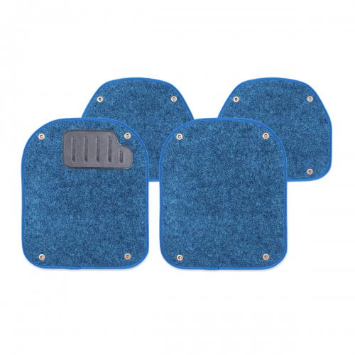 Вкладыши ковролиновые Autoprofi для автомобильных ковриков, цвет: синий, 4 штPET-500i BLКомплект Autoprofi состоит из 2 вкладышей в автомобильные коврики переднего ряда и 2 вкладышей в автомобильные коврики заднего ряда. Вкладыши изготовлены из уютного и износостойкого ковролина. Они легко пристегиваются и снимаются. Надежное крепление гарантируют четыре металлические кнопки. Имеется опора для ног водителя из термопласта, которая обеспечивает комфортное управление автомобилем. Вкладыши устойчивы к влаге, грязи и УФ-лучам. Характеристики: Материал: ковролин, термопласт. Цвет: синий. Размер вкладыша для ковриков переднего ряда: 4 см х 4,8 см. Размер вкладыша для ковриков заднего ряда: 4 см х 3,6 см. Артикул: PET-500i BL.