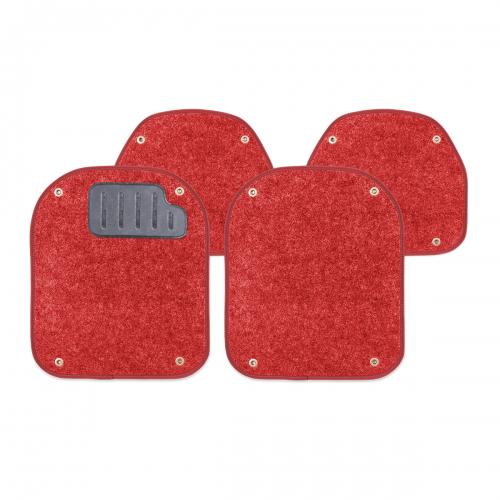 Вкладыши ковролиновые Autoprofi для автомобильных ковриков, цвет: красный, 4 штPET-500i RDКомплект Autoprofi состоит из 2 вкладышей в автомобильные коврики переднего ряда и 2 вкладышей в автомобильные коврики заднего ряда. Вкладыши изготовлены из уютного и износостойкого ковролина. Они легко пристегиваются и снимаются. Надежное крепление гарантируют четыре металлические кнопки. Имеется опора для ног водителя из термопласта, которая обеспечивает комфортное управление автомобилем. Вкладыши устойчивы к влаге, грязи и УФ-лучам. Характеристики: Материал: ковролин, термопласт. Цвет: красный. Размер вкладыша для ковриков переднего ряда: 4 см х 4,8 см. Размер вкладыша для ковриков заднего ряда: 4 см х 3,6 см. Артикул: PET-500i RD.