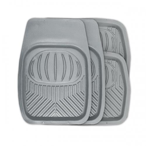 Коврики автомобильные Autoprofi Polar, универсальные, цвет: серый, 4 предметаTER-105 GYУниверсальные автомобильные коврики Autoprofi Polar изготовлены из термопласта-эластомера, который отличается небольшим весом, отсутствием характерного для резины запаха и высокой износостойкостью. Инновационный материал сохраняет свою эластичность даже при экстремально низких температурах до -50°С и устойчив к воздействию агрессивных веществ, таких как масло, топливо или дорожные реагенты. На передних ковриках имеются специальные насечки для разреза, которые позволяют придать им форму, соответствующую выемкам днища автомобиля. Благодаря этому они плотно прилегают к полу, защищая его от грязи и влаги. Высокие фрикционные свойства материала ковриков не дают им скользить по салону и под ногами водителя и пассажира. Характеристики: Материал: термопласт-эластомер. Цвет: серый. Комплектация: 4 шт. Температура использования: от -50°С до +50°С. Размер переднего коврика: 69 см х 48 см. Размер заднего коврика: 48 см х 48 см. Размер упаковки: 5 см...