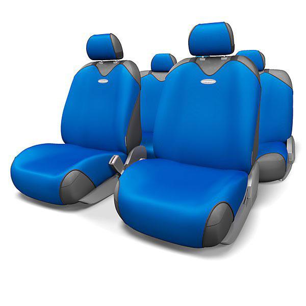 Чехлы-майки на сиденья Autoprofi R-1 Sport, полиэстер, цвет: синий, 9 предметов. R-802 BLR-802 BLЧехлы-майки на сиденья Autoprofi R-1 Sport выполнены из высококачественного полиэстера. Такая форма автомобильных чехлов позволяет без затруднений надевать их на кресла любого типа, не прибегая к демонтажу подголовников и подлокотников. Эластичный полиэстер маек плотно облегает поверхность кресел, не выцветает на солнце и не электризуется. Чехлы-майки на сиденья Autoprofi R-1 Sport выполнены в спортивном стиле, который придает салону яркие и динамичные черты. Широкая гамма расцветок чехлов позволяет подобрать их к любому интерьеру автомобиля. Имеется возможность использования с любыми типами сидений. Комплектация: - 1 сиденье заднего ряда, - 1 спинка заднего ряда, - 2 чехла переднего ряда, - 5 подголовников, - набор фиксирующих крючков. Особенности: Использование с любыми типами сидений Толщина поролона - 2 мм