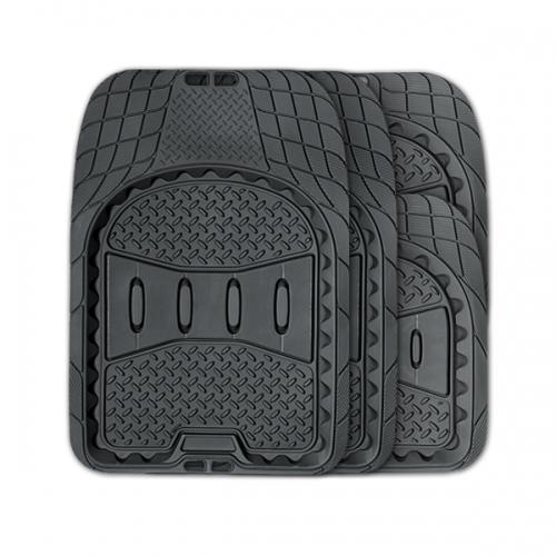 Коврики автомобильные Autoprofi Ranger, универсальные, вырезаемые, цвет: черный, 4 предметаTER-520 BKУниверсальные автомобильные коврики Autoprofi Ranger изготовлены из легкого, но износостойкого термопласта-эластомера, который отличается отсутствием характерного для резины запаха. Инновационный материал сохраняет свою эластичность даже при экстремально низких температурах до -50°С и устойчив к воздействию агрессивных веществ, таких как масло, топливо или дорожные реагенты. Рисунок ковриков обладает не только привлекательным внешним видом, но и особой функциональностью. Разветвленная сеть насечек для разреза на поверхности помогает придать коврикам форму, точно соответствующую днищу салона. Тыльная сторона ковриков снабжена небольшими выступами-шипами, благодаря которым коврики не скользят под ногами и плотно лежат на поверхности пола, защищая его от грязи и влаги. Характеристики: Материал: термопласт-эластомер. Цвет: черный. Комплектация: 4 шт. Температура использования: от -50°С до +50°С. Размер переднего коврика: 74 см х 52 см. Размер...