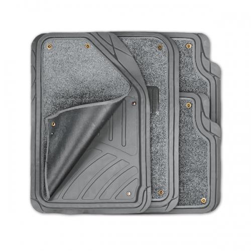 Коврики автомобильные Autoprofi Focus 2, универсальные, морозостойкие, цвет: серый, 4 предметаTER-420 GYКоврики Autoprofi Focus 2 оснащены слоем мягкого и привлекательного ковролина, который придает салону автомобиля уют и комфорт. При необходимости ковролин можно легко отстегнуть, почистить и высушить. В качестве основы ковриков используется термопласт-эластомер, который сохраняет свою эластичность при очень низких температурах - до -50°С. Материал характеризуется небольшим весом, отсутствием типичного для резины запаха и высокой износостойкостью. Насечки для разреза на поверхности ковриков помогают корректировать размер и форму изделий, адаптируя их под профиль днища. Благодаря этому и высоким фрикционным качествам термопласта-эластомера коврики не скользят под ногами и плотно лежат на поверхности пола, защищая его от грязи и влаги. Характеристики: Материал: термопласт-эластомер. Цвет: серый. Комплектация: 4 шт. Температура использования ковриков: от -50°С до +50°С. Размер переднего коврика: 72 см х 50 см. Размер заднего коврика: 50 см х 55 см....