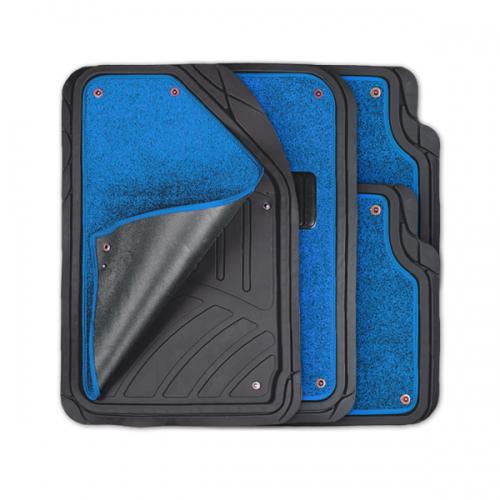 Коврики автомобильные Autoprofi Focus 2, универсальные, морозостойкие, цвет: черный, синий, 4 предметаTER-420 BK/BLКоврики Autoprofi Focus 2 оснащены слоем мягкого и привлекательного ковролина, который придает салону автомобиля уют и комфорт. При необходимости ковролин можно легко отстегнуть, почистить и высушить. В качестве основы ковриков используется термопласт-эластомер, который сохраняет свою эластичность при очень низких температурах - до -50°С. Материал характеризуется небольшим весом, отсутствием типичного для резины запаха и высокой износостойкостью. Насечки для разреза на поверхности ковриков помогают корректировать размер и форму изделий, адаптируя их под профиль днища. Благодаря этому и высоким фрикционным качествам термопласта-эластомера коврики не скользят под ногами и плотно лежат на поверхности пола, защищая его от грязи и влаги. Характеристики: Материал: термопласт-эластомер. Цвет: черный, синий. Комплектация: 4 шт. Температура использования ковриков: от -50°С до +50°С. Размер переднего коврика: 72 см х 50 см. Размер заднего коврика: 50 см...