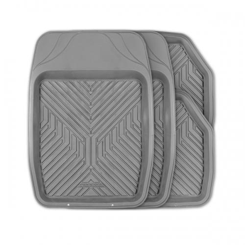 Коврики автомобильные Autoprofi Groove, универсальные, цвет: серый, 4 предметаTER-150 GYУниверсальные автомобильные коврики Autoprofi Groove изготовлены из термопласта-эластомера, который отличается небольшим весом, отсутствием характерного для резины запаха и высокой износостойкостью. Инновационный материал сохраняет свою эластичность даже при экстремально низких температурах до -50°С и устойчив к воздействию агрессивных веществ, таких как масло, топливо или дорожные реагенты. Насечки для разреза на передних ковриках позволяют придать им различную форму и подогнать под нужный профиль днища, надежно изолировав его от грязи и влаги. Высокие фрикционные свойства материала ковриков не дают им скользить по салону и под ногами водителя и пассажира. Характеристики: Материал: термопласт-эластомер. Цвет: серый. Комплектация: 4 шт. Температура использования: от -50°С до +50°С. Размер переднего коврика: 69 см х 48 см. Размер заднего коврика: 48 см х 48 см. Размер упаковки: 5 см х 69 см х 48 см. Артикул: TER-150 GY.